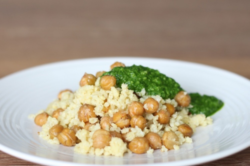 Millet with Crispy Garbanzo Beans and Parsley Pesto