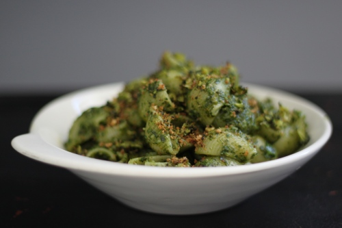 Spinach Pesto with Broccoli Breadcrumbs